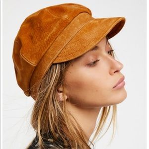 Free People Avery Tan Leather Lieutenant Hat